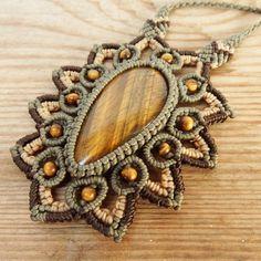 Macrame Necklace Pendant Tiger Eye Stone Waxed Cord Handmade Cabochon #Handmade #Pendant