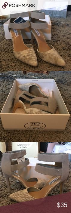 Grey Steve Madden heels Snake skin toe and suede straps with zip up back. Steve Madden heels, brand new, never worn. Really cute toe detailing to pop out of flare jeans! Bought originally at Marshalls Steve Madden Shoes Heels