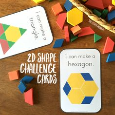 Printable 2D shape challenge cards perfect match for wooden pattern blocks | you clever monkey