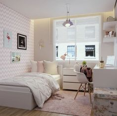 Study Room Decor, Room Ideas Bedroom, Teen Room Decor, Small Room Bedroom, Bedroom Decor, Tiny Bedroom Design, Home Room Design, Girl Bedroom Designs, Small Room Interior
