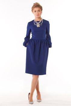 Blue Dress Woman ,elegant Evening Dress ,classic Dress in Retro Style.