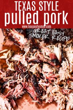 Melt in your mouth tender Pulled Pork! This simple, smoked Pork Shoulder/Butt creates the most tender, flavorful pulled pork. Pulled Pork Smoker Recipes, Pellet Grill Recipes, Smoked Pulled Pork, Smoked Meat Recipes, Grilling Recipes, Traeger Pulled Pork Recipe, Rub Recipes, Carnitas, Recipes