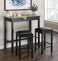 Height Pub Dining Set 3 Piece Table Bar Kitchen Stools Furniture Counter Chair