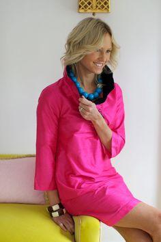 Color Block Ruffle Dress Fuschia by DevonBaerDesigns on Etsy