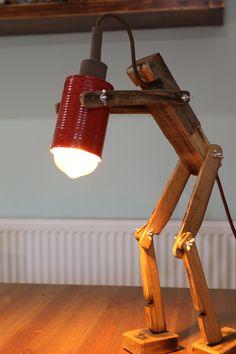 diy Lamp table - ROBOT lamp Barrel Lamp Desk Lamp Vintage Lamp Reading light Rustik lamp Handmade Desk lamp Gift Him Gift for her Birthday gift readers gift Handmade Desks, Handmade Lamps, Wood Desk Lamp, Wooden Lamp, Bois Diy, Rustic Lamps, Floor Lamp, Wood Projects, Design Table