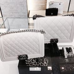 so pretty! chanel boybags in white; so beautiful ad fresh! love chanel; total bag goals