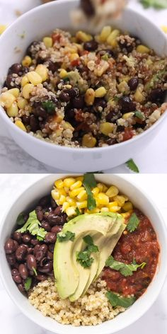 Best quinoa bowl ever! This healthy recipe is made with black beans corn salsa avocado and cilantro! You won't believe how easy it is to make and it's naturally gluten-free vegan and vegetarian. Great for meal prep and clean eating! Healthy Recipe Videos, Healthy Dinner Recipes, Whole Food Recipes, Cooking Recipes, Easy Recipes, Vegan Lunch Recipes, Healthy Meals For Two, Avocado Recipes, Vegan Snacks