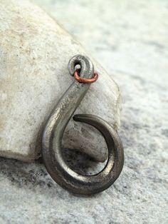 Celtic swan swirl pendant or key chain - blacksmith forged iron by ThreeRiversForge