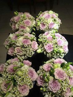 Geraldton wax and mauve rose bouquet