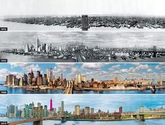 EVOLUTION OF THE NEW YORK SKYLINE Photograph via Lee @ tier1dc.blogspot.com In this fascinating composite image we see the evolution of New York City's skyline from 1879 to 2013 (when One World Trade Center will be complete)