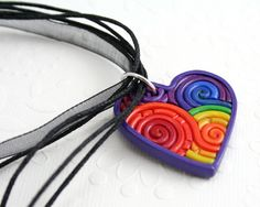 Rainbow Heart Pendant in Polymer Clay Filigree by StarlessClay, $10.00