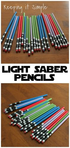Star Wars Light Saber Pencils - Star Wars Cake - Ideas of Star Wars Cake - Turn regular pencils into awesome light saber pencils! Perfect for any Star Wars fan or a Star Wars themed birthday party. Bd Star Wars, Theme Star Wars, Star Wars Bb8, Lego Star Wars, Star Wars Pinata, Star Wars Kids, Birthday Star, Birthday Parties, Birthday Gifts