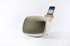 This weekend we have met this young product design firm REHFORM, in Designers' Open 2014 in Leipzig, Germany. Concrete Furniture, Concrete Cement, Concrete Design, Polished Concrete, Furniture Design, Wooden Speaker Stands, Wooden Speakers, Beton Design, Speaker Design