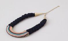 Pull&Bear - mujer - bisutería - collar hilos entrelazados - negro - 05994340-V2015