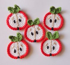 Crochet Applique Apples 5pcs by Clewinhand on Etsy, $5.00