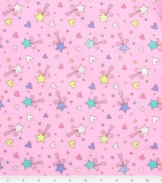 Flannel Fabric - Dreamy Glitter Magic Fairy Wands pink with hearts and stars by the yard. $7.00, via Etsy.