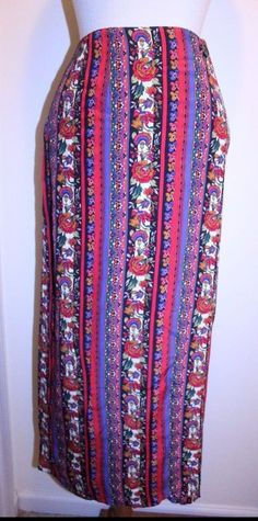 Express L Vintage Compagnie Internationale Multicolor Floral Wrap Midi Skirt #Express #WrapSarong