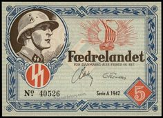 Propaganda 'Fatherland' paper money printed by and for use in purchases from the Danish Nazi Party, in mint condition. Showing legionnaire and the SS runes. Very scarce.