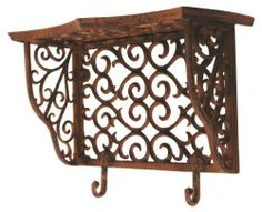 Esschert Design USA BPH30 Cast Iron Wall Shelf with Hooks by Esschert Design USA. $53.67. Cast iron decorative outdoor shelf. Flourished scroll design that complements any decor. Attached hooks for hanging garden tools. If you need space to put your garden items and planters, this Victorian style cast iron shelf will hold small pots or planters and hangs on a deck, garage or shed wall. With exquisite scroll work, the flourished cast iron will accent with almost any...