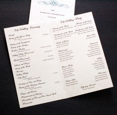 don't forget the wedding program: ceremony, wedding party, proposal story, acknowledgements