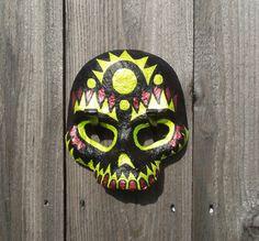 Paper Mache Black Day of the Dead Skull Mask
