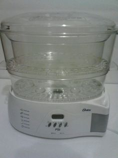 Oster Electronic LCD Automatic 2-Tier 6 Quart Steamer Model 5712 White