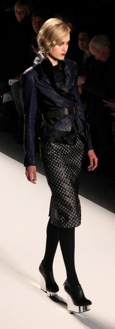 Bibhu Mohapatra Fall 2013. Va va voom! This is classy and glam with a bit of edge. Love the skirt. Check out those shoes!