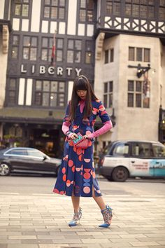 Susie Bubble wearing Liberty London Patchwork Maddox bag and neck wallet worn with VB by Victoria Beckham dress and my own Nike top and Sophia Webster shoes #susielau #stylebubble