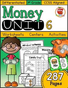 287 pages of differentiated, fun, and engaging 1st Grade WORKSHEETS, CENTERS, ACTIVITIES & CRAFTS designed to build important coin name and coin value skills. Example problems with explanations and student directions included at the top of each worksheet to support student independence.  _____________________________________________________________________Save BIG when you BUNDLE! 36% SAVINGS is equivalent to receiving 2 FREE UNITS when you bundle!