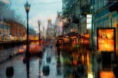 Rosja, Ulica, Deszcz, Cerkiew