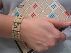 scrabble bracelet | Visit my scrabble themed craft site: http://www.scrabble-tile-crafts.com/