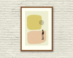 LOVE in THE ABSTRACT - Annie Hall Inspired Poster - 12 x 18 Mid Century Modern cut paper collage shapes vintage retro mustard salmon Annie Hall, Grand Budapest Hotel, Vintage Stil, Retro Vintage, Make A Wish Foundation, Beautiful Series, Poster Series, Paper Cutting, Cut Paper