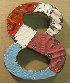 Tin Ceiling Wrapped 8 Number 8 Patchwork by RecycledRelics on Etsy, $39.00