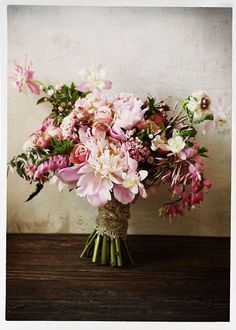 Incredible rustic and romantic pink bridal bouquet