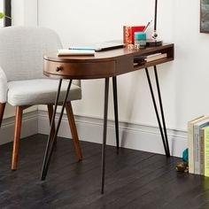 Pencil Desk from west elm — uniquely small shape perfect for small spaces. (would make a great nail desk for working at home. Modern Furniture, Home Furniture, Furniture Design, Affordable Furniture, Space Furniture, Office Furniture, Home Design, Interior Design, Home Office Desks
