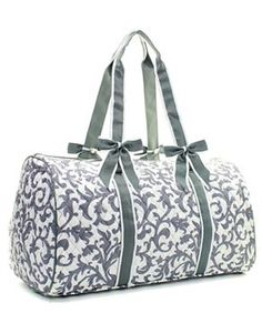 Monogram Duffle bag/ Personalized Gray Damask weekends/over night bag/duffle/gym/travel bag/dance bag by sewsassybootique on Etsy