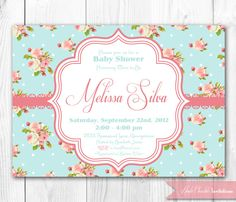 Shabby Chic Baby Shower Invitation. DIY Printable Baby Shower, Bridal Shower or Birthday Party Invitation.. $14.00, via Etsy.