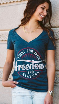 NEW CAMPAIGN: When you purchase this shirt at #Sevenly, you help save a young girl's life from sex slavery. #thinkaboutit