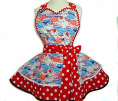 Patriotic Pinup Girl-Sweet 4th of July Red White Blue Cupcakes with Red & White Polka Dots Diner Apron. $65.00, via Etsy.
