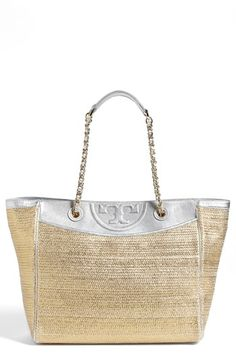 Free shipping and returns on Tory Burch 'Fleming' Woven Tote at Nordstrom.com. Metallic lambskin trim adds upscale glamour to an earthy, eye-catching tote embellished with logo quilting and a refined goldtone chain strap.