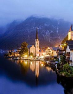 A misty night in Hallstatt, Austria.