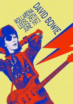 David Bowie poster concert - Rollarena Leeds 29th June 1973