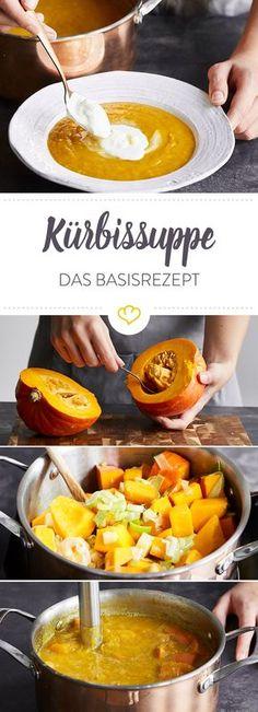 Sopa de abóbora clássica - a melhor receita básica para qualquer cozinheiro amador - New Ideas Pumpkin Soup, Pumpkin Dessert, Pumpkin Recipes, Veggie Recipes, Fish Recipes, Lunch Recipes, Soup Recipes, Healthy Recipes, Yummy Veggie