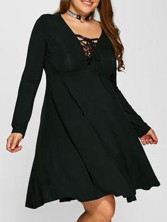 Plus Size Lace-Up Empire Waist Slimming Dress in Black   Sammydress.com