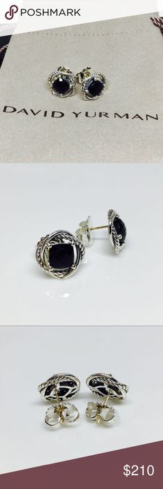 David Yurman Infinity Earrings with Black Onyx David Yurman Silver Infinity Earrings with Black Onyx | Sterling silver 925 | Faceted Black Onyx 7x7 mm | Like New Never Worn | Signature Pouch and Jewelry Box | Authentic David Yurman Jewelry Earrings