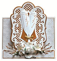A card made with Marianne Champagne glass die