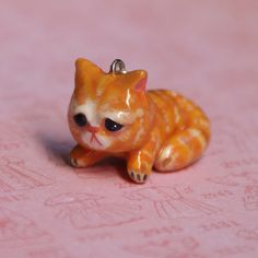 Red Cat Necklace /Pendant /Charm /Totem, Polymer Clay, Handmade, Hand Painted, Kitty Cat Miniature Sculpture, Wearable Art, Gift idea
