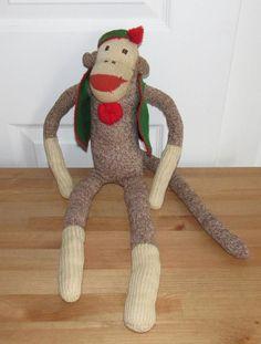 Original Vintage Handmade Sock Monkey Wearing A Hat Jacket | eBay