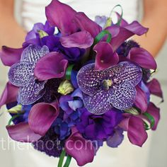 This showstopping bouquet included bold #purple vanda orchids mixed with #fuchsia calla lilies.