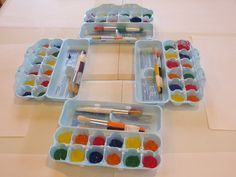 paint invitation - Fill egg cartons with paint. Tape two brushes together near top so each brush can be dipped in a different paint color.